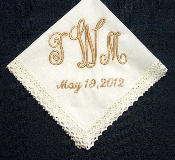 Personalized Wedding Gift Wedding Hankerchief Bridal Handkerchief In Ivory