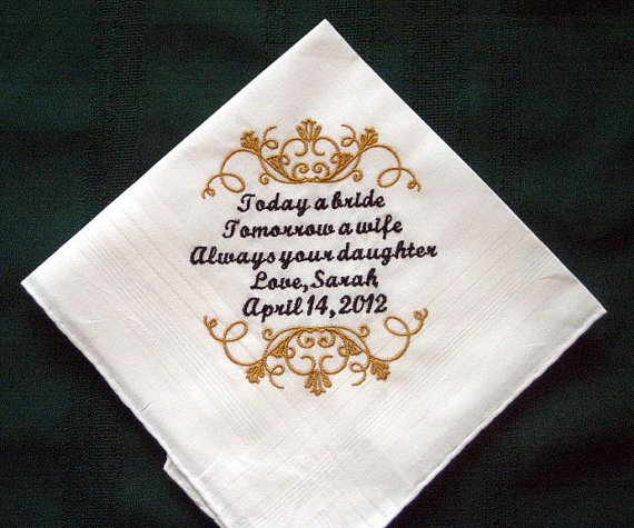Wedding Day Gift For Father Of The Bride : The personalized wedding handkerchief for the father of the bride will ...