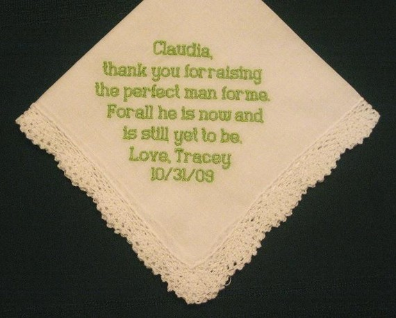 Personalised Wedding Gifts For Bride And Groom Australia : ... Wedding Gift - Wedding Handkerchief for Mother of the Groom with Gift